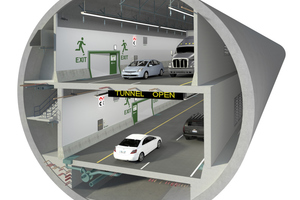 1)&nbsp;&nbsp;&nbsp;&nbsp;&nbsp; Inside the tunnel: within the bored tunnel tube with a diameter of around 17.50 m, a double-story road tunnel is being realized – mainly constructed using in-situ concrete together with a comprehensive Peri solution <br />
