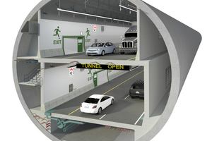 "<div class=""bildtext_en"">	Inside the tunnel: within the bored tunnel tube with a diameter of around 17.50 m, a double-story road tunnel is being realized – mainly constructed using in-situ concrete together with a comprehensive Peri solution</div>"