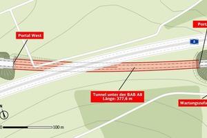 2Lageplan des Tunnels unter der Bundesautobahn A8