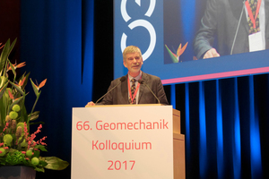 "<div class=""bildtext_en""><strong>1	</strong>Prof. Wulf Schubert, the old and new ÖGG president, welcomed the more than 800 participants at the 66<sup>th</sup> Geomechanics Colloquium in Salzburg</div> <div class=""bildtext_en""></div>"