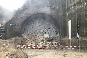"<div class=""bildtext_en"">On 29 November 2017, the tunnel boring machine broke through the last few metres of the Bözberg in Effingen, Switzerland</div>"