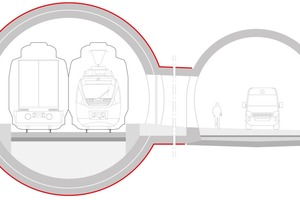 """<div class=""""bildtext_en"""">Twin-track tunnel with evacuation tunnel</div>"""
