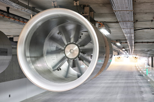 """<div class=""""bildtext_en"""">The axial fans of type AJ 1000 TR are reversible so that complete smoke extraction is always guaranteed independent of the natural wind pressure</div>"""