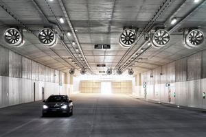 """<div class=""""bildtext_en"""">The north Katzenberg Tunnel shortly before opening: under the tunnel roof, the lighting rails along the grouped jet fans show the route along which smoke gases will be extracted in case of fire</div> <div class=""""bildtext_en""""></div>"""