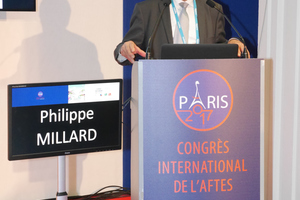 Phillippe Millard, president of the Congress Committee, during the opening of the AFTES Congress in Paris