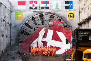"<div class=""bildtext_en"">An important milestone for the continuous four-track east/west rail axis in Switzerland: Around 200 invited guests witnessed the successful breakthrough of the 2600 m long Eppenberg Tunnel in Gretzenbach </div>"