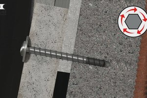 The screw anchor is screwed directly into the drill hole with its self-tapping thread without additional plug<br />
