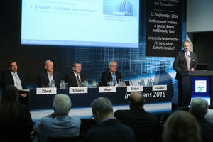 "<div class=""bildtext_en"">The ""International Tunnel Forum"" staged during the InnoTrans concentrates on mobility and tunnelling (the photo depicts the event held in 2016). The current topics for the rounds of discussion on September 19 and 20 are ""Long-term Targets in Tunnelling: Investment Strategies for Construction and Refurbishment"" and ""Current Challenges in Tunnelling and Tunnel Operation""</div>"