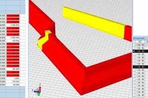 8Pfahlkopfbalken – Betonmenge und Betonbewehrung wird über das Volumen der modellierten Balken errechnet.