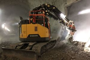 """<div class=""""bildtext_en"""">The first Volvo tunnel excavator ECR 145E converted by SSM is in use in Kirchheim Teck in the Albvorland Tunnel</div>"""