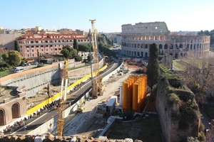 The T3 stretch, of the Metro Line 3 in Rome is 3 km long and still under construction. The tunnels run 35 m below the ground level, while the stations are located very close to the Colosseum and the Aurelian Walls