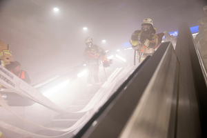 """<div class=""""bildtext"""">1Access to a station during a fire service exercise of the Orpheus project</div>"""