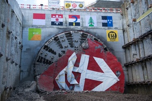 "<div class=""bildtext"">5	TBM after breakthrough in the Gretzenbach target shaft</div>"
