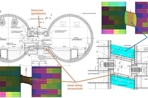 """<div class=""""bildtext"""">9FEM-Modell der Tunnelröhren und des Querschlags inklusive Frostkörper (Bodenmodell ausgeblendet)</div>"""