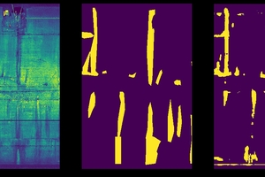 """<div class=""""bildtext_en"""">7Ergebnisse der Bildanalyse: Ein Vergleich zwischen einer menschlichen Inspektion (Mitte) und den Vorhersagen Deep Learning Netzwerks (rechts). Das linke Bild zeigt die Datenquelle</div>"""