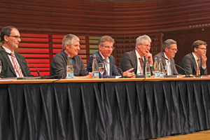"<div class=""bildunterschrift_en"">Panel discussion with the speakers of the afternoon session (from left to right): Dr. Stefan Moser (conference manager), Andreas Zimmermann, Etienne Garin, Prof. Konrad Bergmeister, Thomas Zieger, Andreas Weidinger and Dr. Martin Wittke</div>"