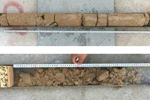 """<span class=""""zahl_bildunterschrift"""">4</span>Cores taken from drillings in Kurkar"""