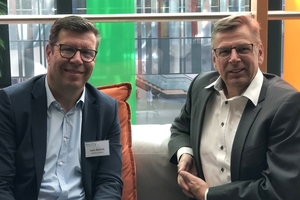 During the trade fair Intergeo 2019 in Stuttgart, Germany, Eugen Schmitz, chief editor of the magazines tunnel and THIS – Tiefbau, Hochbau, Ingenieurbau, Straßenbau (on the right), spoke with Lutz Bettels, Vice President, Regional Executive Owner/Operators EMEA, from Bentley Systems<br />