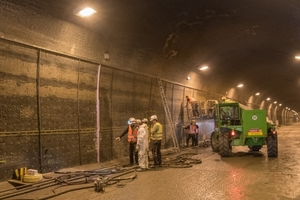Installing the titanium mixed oxide anodes for cathodic corrosion protection (CCP) in the Rendsburg Canal Tunnel