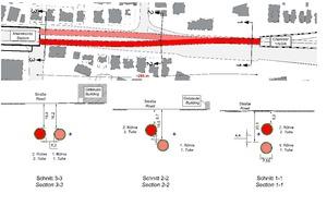"<span class=""zahl_bildunterschrift"">16 </span>Section Chamber 1/5/2/6 – Aharonovitz Station, plan and cross-sections"