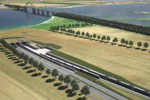 Visualization of the new Fehmarn Sound crossing: The picture shows the portal south of the planned immersed tunnel under the Fehmarn Sound on the mainland side. The 1963 bridge will remain in place when the 1.7 km long tunnel is put into operation – according to the plan in 2028 <br />