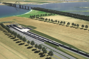 Visualization of the new Fehmarn Sound crossing: The picture shows the portal south of the planned immersed tunnel under the Fehmarn Sound on the mainland side. The 1963 bridge will remain in place when the 1.7 km long tunnel is put into operation – according to the plan in 2028