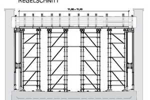 Due to the spatial system of a loadbearing scaffold, a relatively free-standing loadbearing construction can be built in advance without horizontal bracing .The loadbearing scaffold for the slab formwork from the scaffold building system Peri Up Flex consisted of several free-standing individual towers, connected to each other at the head by yoke and cross beams through the conventional slab formwork. This formed the base for the later concreting work