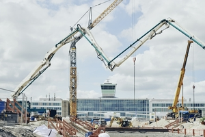 In the airside area of Munich Airport, a tunnel section of about 250 m in length was built using the top-down construction method. The tight time window for the work made 24-hour construction operations necessary over a period of several months