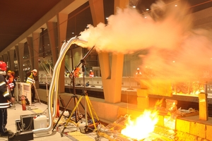 Hot gas test of STUVAtec in a new underground station to test the fire alarm system