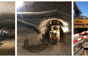 4 | Risikobasierte Bauänderungen bewirken eine Vielzahl von Planänderungen im ganzen Bauprozess: Tunnelvortrieb (links) Ausführung der Querschläge (Mitte), Abtransport des Ausbruchmaterials (rechts) etc.