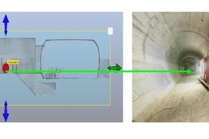 3 | Links: Planquerschnitt eines Tunnelquerschlags; rechts: Querschlag in der Bauphase. Punktwolkenaufnahmen dokumentieren den Ist-Zustand, der mittels Model-Check mit dem Soll-Zustand abgeglichen wird