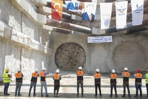 Contractor Intekar Yapı A.S. celebrated the breakthrough of the Robbins Single Shield TBM on July 24, 2020 at the Bahçe–Nurdagı Railway Project in southeastern Turkey