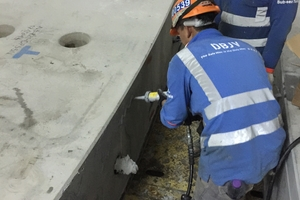 10 | Application of Fix-O-Flex adhesive-sealant and placement of the tunnel segments (1 of 3)