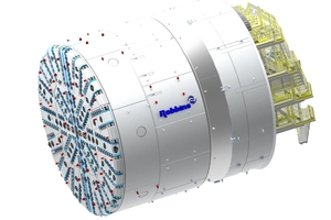 """<span class=""""zahl_bildunterschrift"""">3   </span>The custom-designed Hiroshima Slurry Shield TBM with cutterhead for hard rock excavation and robust single shield structure to support continuous and nearly settlement-free advance"""