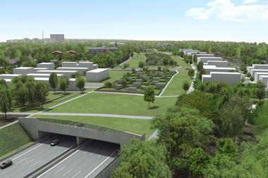 A7 Altona Tunnel in Hamburg: noise protection tunnel covered with allotments, greenery and parks <br />
