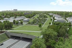 A7 Altona Tunnel in Hamburg: noise protection tunnel covered with allotments, greenery and parks