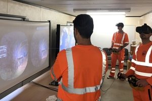 Operators training with Edvirt's VR shotcrete simulator <br />