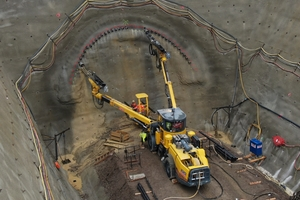 Installation of a pipe umbrella at the tunnel portal with a two-boom jumbo