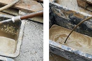 1 | Freier Auslauf von Standard-Zement-Suspension (links), freier Auslauf einer kombinierten Zement-Polyurethan-Suspension (rechts)