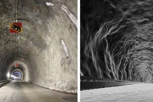 """<span class=""""zahl_bildunterschrift"""">2</span>Photo from inside the tunnel (left) and visualisation of the triangular meshing from the 3D scan (right)"""