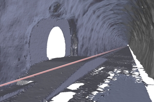 """<span class=""""zahl_bildunterschrift"""">5</span>View into the tunnel outline meshed with triangles and marking of the lower cutting edge (red line)"""