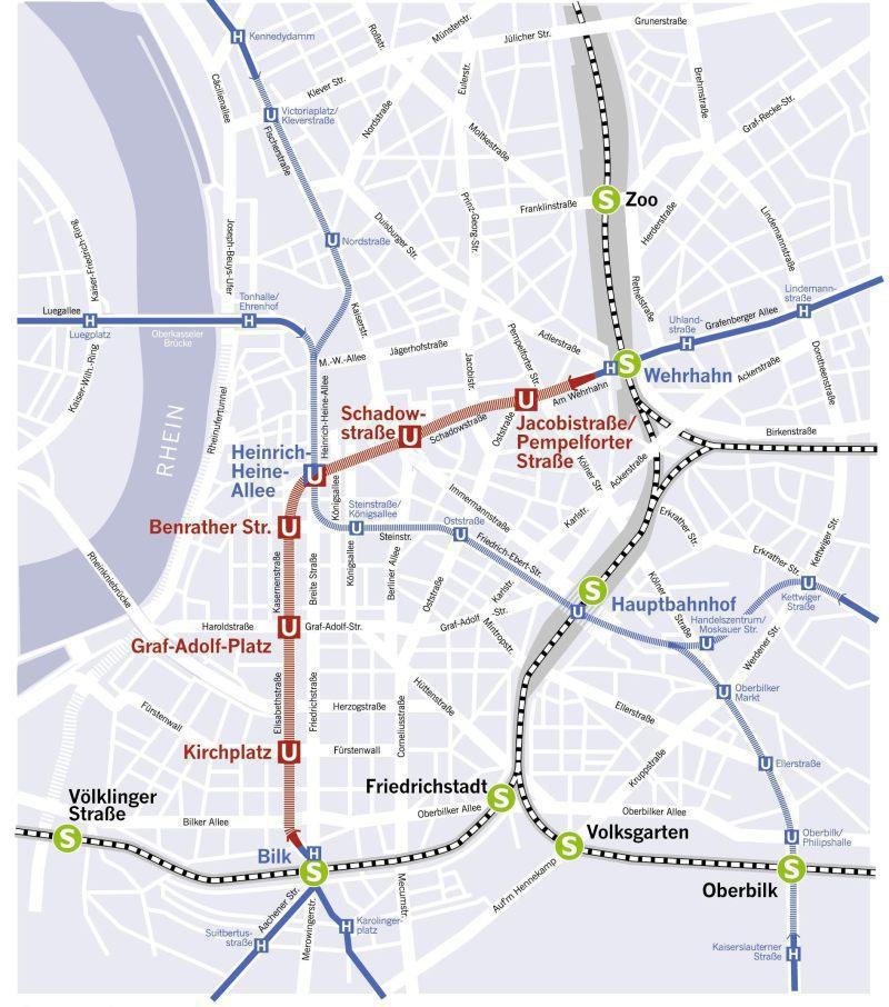 Wehrhahn Line Düsseldorf Opening Of The Innercity Tunnel - Dusseldorf metro map