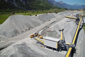 3 Material yard with excavated material from the Gotthard Base Tunnel<br />