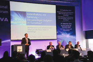 """<div class=""""bildtext_en"""">Panelists at the """"Maintenance and Renovation – the future Tasks in Tunnelling?"""" Forum</div>"""