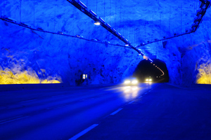 "<div class=""bildtext_en"">Today Norway has more than 1800 road and rail tunnels, whose total length amounts to well over 1000 km. The Lærdal Tunnel ist the world's longest road tunnel at 24.5 km and features comfortable lighting and driving variation to prevent fatigue during travel</div>"