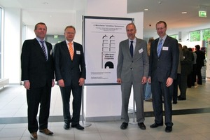 The organisers of the 2<sup>nd</sup> Munich Tunnelling Symposium (from l. to r.): Prof. Boley, Prof. Keuser and Prof. Schwarz of the Armed Forces University in Munich as well as Dr. Leucker of the STUVA <br />