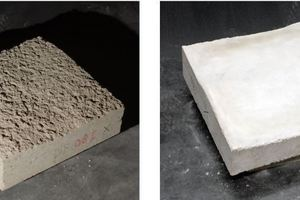 "<div class=""bildtext_en"">4)	Shotcrete sample on the left and corresponding negative on the right 