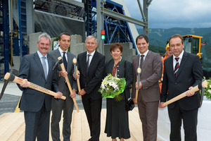 """<div class=""""bildtext_en"""">From left to right: State Councillor Karl Wilfing, CEO of ÖBB-Holding AG Christian Kern, Federal Minister Alois Stöger, tunnel """"godmother"""" Elisabeth Schöggl, Deputy State Governor Michael Schickhofer and the Head of Implenia's Business Unit Infrastructure Rene Kotacka celebrated the start of work on the shafts</div>"""