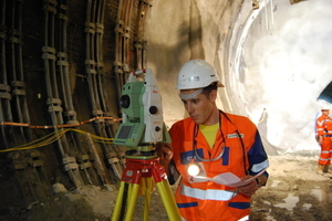 """<div class=""""bildtext_en"""">Surveying activities: surveyor measuring the traverse with total station and measuring crew during levelling</div>"""