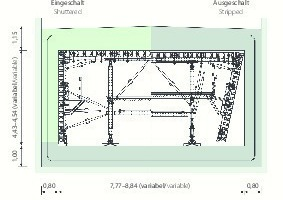 """<div class=""""bildtext_en"""">Load-bearing Peri system solution: as the walls are concreted single-faced against the diaphragm walls, the high loads must be diverted within the formwork carriage structure. Furthermore, it adapts to the changing cross-sectional widths and heights</div>"""